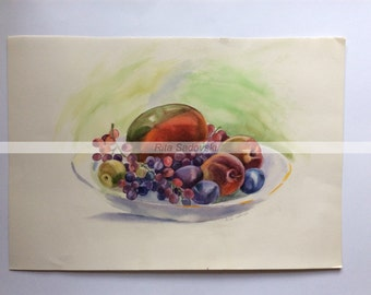 Original Nature Morte Plate with Fruits painting, watercolor, paper