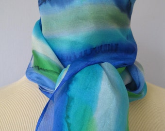 "Stripey silk scarf blue green turquoise white 10"" x 57"" 26cm x 145cm"