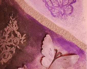 Purple butterflies - Original painting, acrylic on canvas
