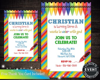 Crayons Birthday Invitation