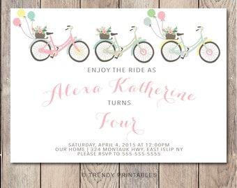 Birthday Party Invitation, Girl Birthday Party Invite, Balloon Invitation, Bicycle Birthday Party Invitation, Printable Birthday Invitation