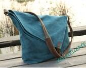 Canvas Bag With Leather Strap Messenger Crossbody Shoulder School University Travel TOTE Satchel Bag Handbag For Men & Women
