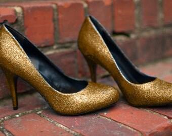 Gold heels Golden Wedding shoes Glitter wedding shoes Wedding shoes gold Party shoes Gold High Heels Low heels flat Gold shoes SIZE 6.5