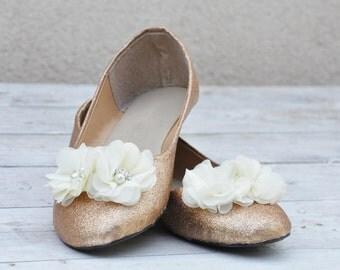 Bridal shoes Ivory wedding flats Ivory bridal shoes Champagne ballerinas Wedding shoes Low heels bridal flats ivory ballerinas SIZE 6