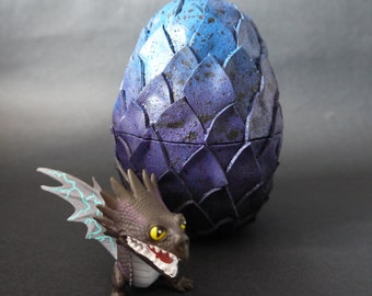 Egg box with dragon: black, purple and blue