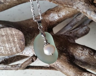 Sea Glass Jewelry Necklace Freshwater Pearl