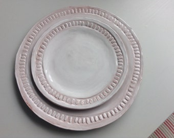 Large Red Stoneware Dinner Plate, White