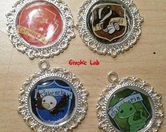 Cameo necklace chibi Gryffindor, Slytherin, Hufflepuff, Ravenclaw Harry Potter