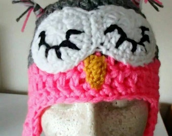 Cute Sleepy Owl Crochet Hat