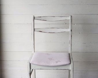 Shabby Chic White Painted Upholstered Dinning Chair Laura Ashley Fabric FREE UK DELIVERY