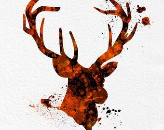 Watercolor Art Print Deer Buck Woodland Animal Orange Black Modern 5x7 8x10 11x14 Wall Decor Illustration Office Wall Hanging Antlers Hunt
