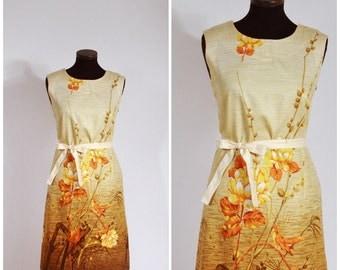 Vintage 50s 60s Yellow Orange Brown Bird Floral Cotton Shift Dress M/L