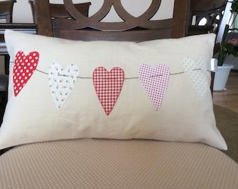 Valentine Heart Pillow, Heart Throw Pillow,Wedding Decor, Decorative Cushion, Toss Pillow, Sofa Pillow, Sham, Creamy White Pillow