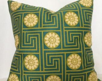 Blue Green Pillow Cover, Geometric Design Pillow,18x18