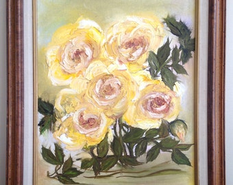 Vintage Original Oil Painting of Yellow Roses, Framed  M535-3