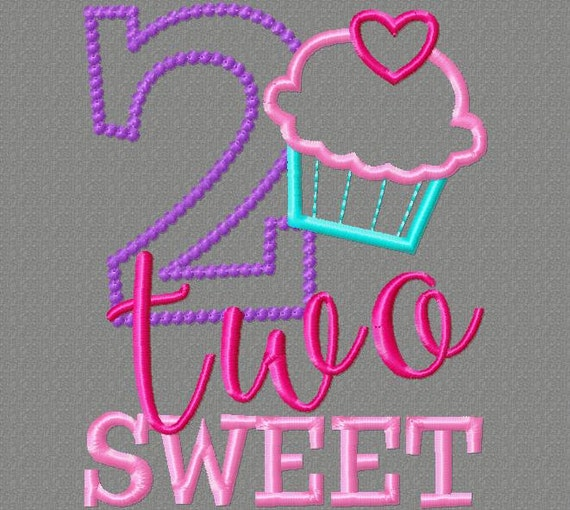 Embroidery Design 5x7 Two Sweet 2nd Birthday With Cupcake