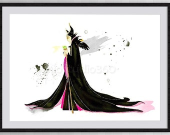 Maleficent Watercolor Print from Sleeping Beauty - Giclee Home Decor Nursery Room Decor Wall Hanging Disney Movie Poster