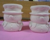 DIY-Ready to Paint Ceramics, Mr. & Mrs Snowman Candle Holder, Toothpick Holder, Holder