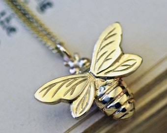 Gold Bee Necklace, Bee necklace, Nature Gifts, Handmade Uk, Handmade necklace