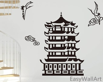 Temple Pagoda Wall Decal - Crane Flying Around The Pagoda Tower Decal - Chinese, Japan & Asian Style Buddhist Vinyl Wall Stickers Art #M19