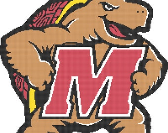 Maryland Terrapins Logo -- Counted Cross Stitch Chart Patterns, 3 sizes!