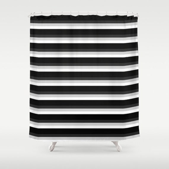 items similar to shower curtain black stripes shower curtain black gray white shower curtain. Black Bedroom Furniture Sets. Home Design Ideas