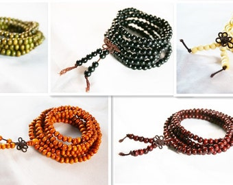 216 Round 6mm Sandalwood Buddhist Prayer Beads Mala Bracelet various color