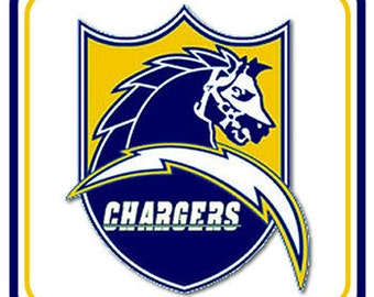 San Diego Chargers Old Logo 4 Inch Square Neoprene Coaster