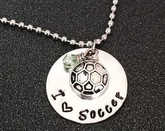 Hand Stamped Soccer Necklace, Soccer Necklace, Soccer Personalized Necklace, Soccer Jewelry, I Love Soccer