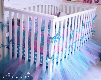 Teal and Pretty Pink Tulle Tutu Crib Skirt