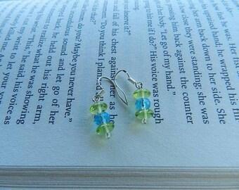 Aquamarine blue and green earrings