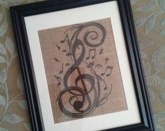 Gift For Music Lover, Music Note Art, Burlap Art Gift