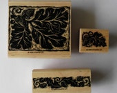 Leaves Rubber Stamps, Destash, Used Stamps, Wood Mounted Rubber Stamp, Stampin Up Set, Autumn Stamp Set, Acorn with Leaves Stamp