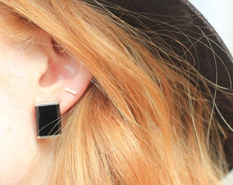 Vintage | Minimalist | Black Onyx | Inlay | Sterling Silver | Earrings