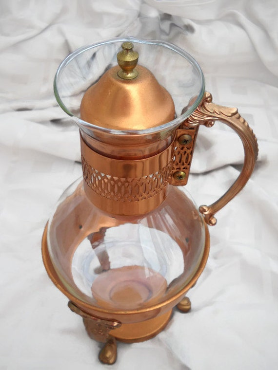 Vintage COPPER COFFEE CARAFE Holder for a Glass Pitcher with