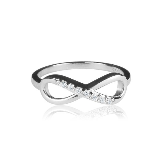 Silver infinity ring with real cubic zirconia and safe to get wet, Use it to circulate your heart desires, Priced to Grab