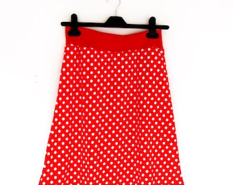 stretch skirt A-line red with  white dots,summer skirt,elasticated,holiday skirt,jersey,tricot,MaaRoza