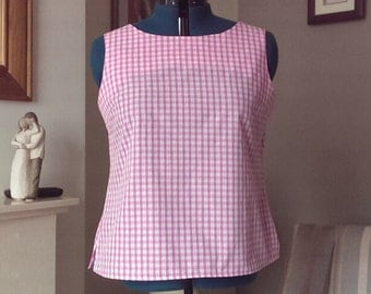 Pink/white Gingham Sleeveless Top UK 18