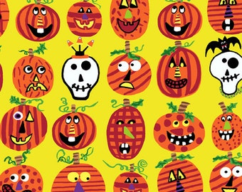 Dem Bones - Pumpkins on Yellow Fabric