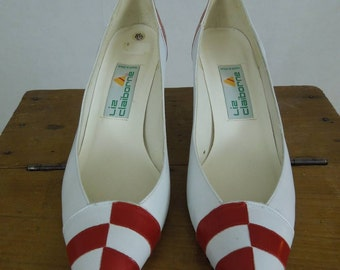 SALE!!! Red & White Liz Claiborne Heels. Size 8 1/2 N. Made in Spain.