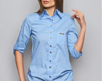 Light Blue  blouse. Staple blouse. Office blouse. Blouse with long sleeves. Spring blouse. Woman blouse. Casual blouse. Blouse with buttons.