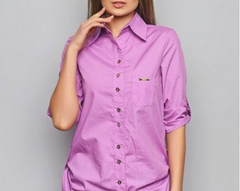 Purple blouse. Staple blouse. Office blouse. Blouse with long sleeves. Spring blouse. Woman blouse. Casual blouse. Blouse with buttons.