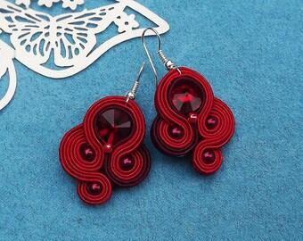 Red Rivoli Soutache Earrings