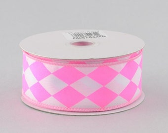 "1.5"" Pink and White Harlequin Diamond Satin Ribbon - (10 YARDS) - RW6576WT"