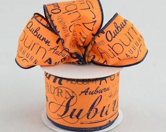 """2.5"""" Auburn Print Ribbon: Orange & Blue (10 Yards) - RG1037"""