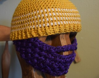 Bearded Beanie (Purple/Gold/White) Made in the USA