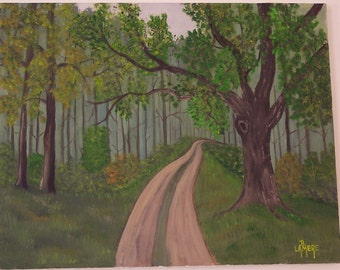 "Original Oil Painting - landscape // Road through the Woods - 16"" x 20"" // forest trees path green brown blue orange"