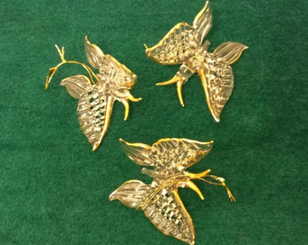 Butterflies Trio of Hanging Blown Glass Butterflies Figures Gold Accents  Vintage