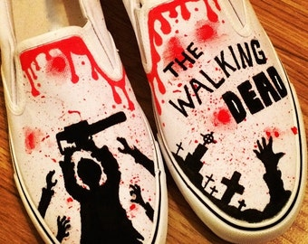 The Walking Dead Shoes, Custom Shoes, Custom Converse, Converse Allstars, Vans Shoes, Painted Shoes