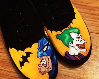 Batman V Joker Shoes, Custom Shoes, Custom Converse, Converse Allstars, Vans Shoes, Painted Shoes